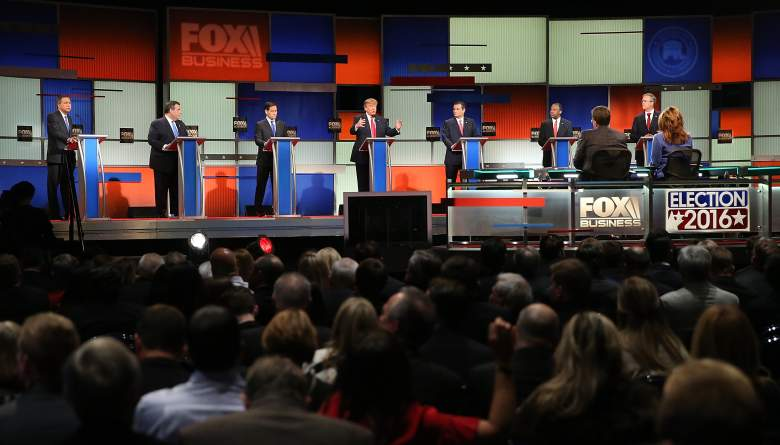 GOP candidates at Thursday's debate. While it's too early for the debate to affect the polls, new national polls suggest Trump is extending his lead. (Getty)