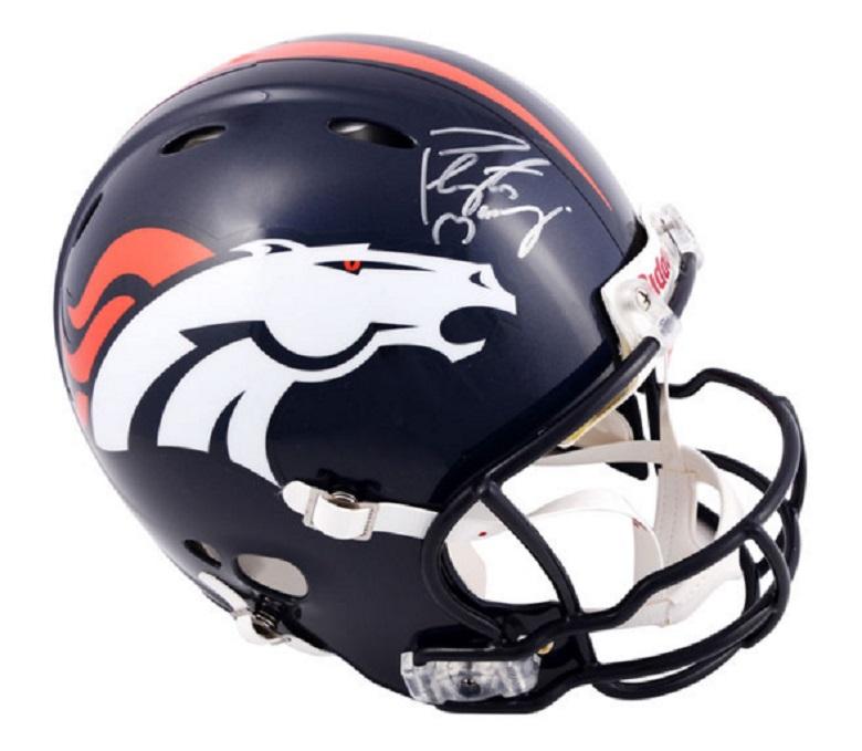 peyton manning broncos gear autographed helmets
