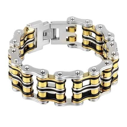 stainless steel and titanium bike chain bracelet