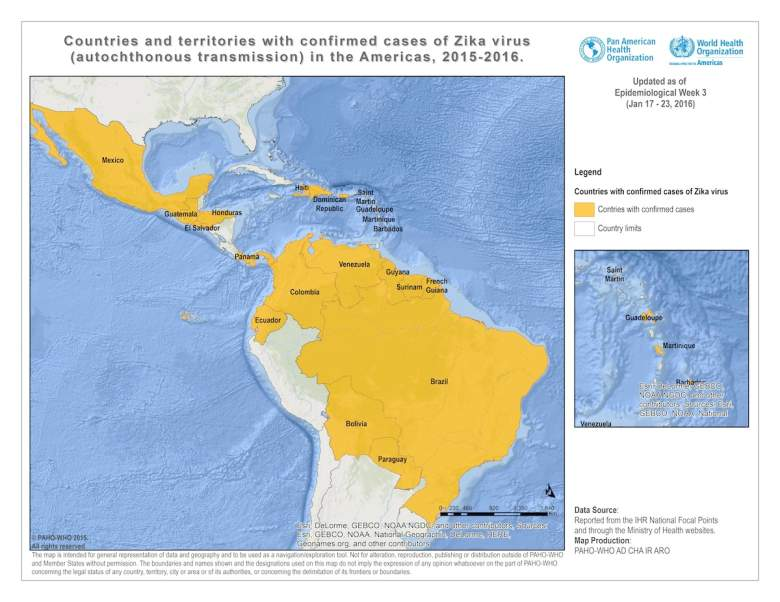 Zika Virus map, zika virus spread, zika virus countries