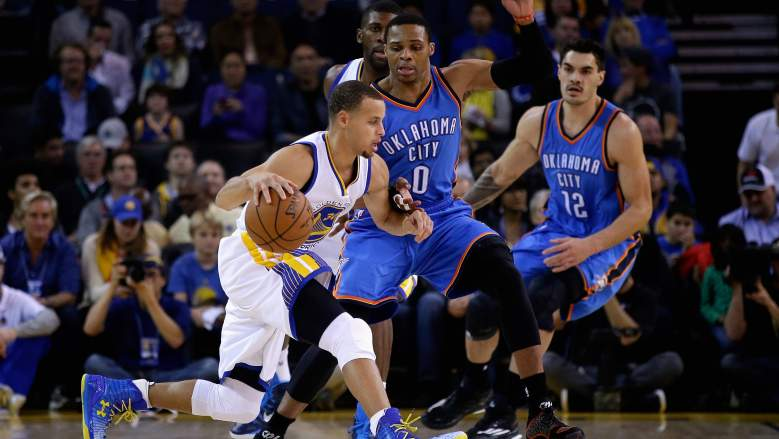 In what could be a preview of the Western Conference finals, the Warriors and Thunder meet in primetime Saturday night. (Getty)