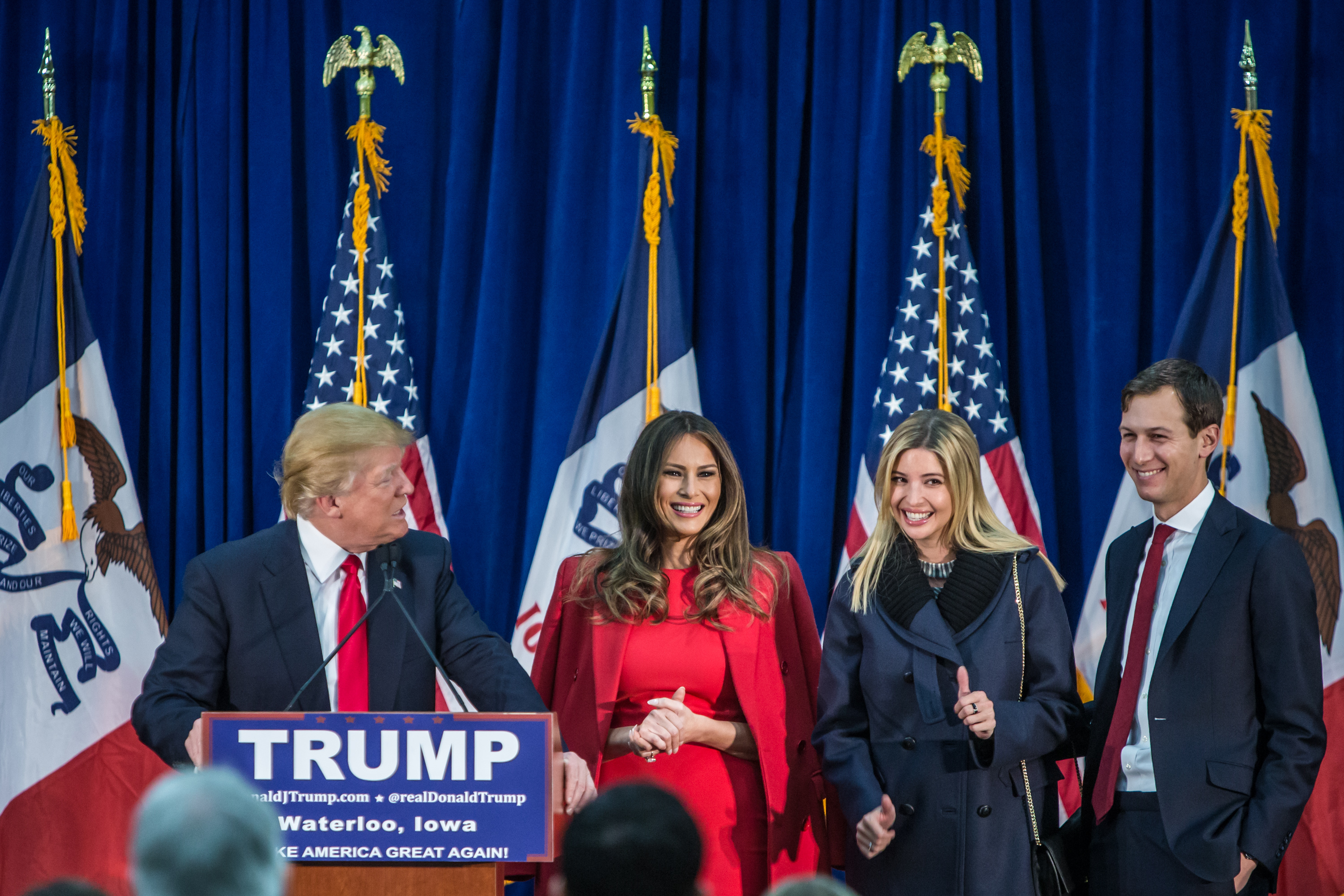Donald Trump s joined on stage by his wife Melania Trump, daughter Ivanka Trump, and son-in-law Jared Kushner.   (Getty)