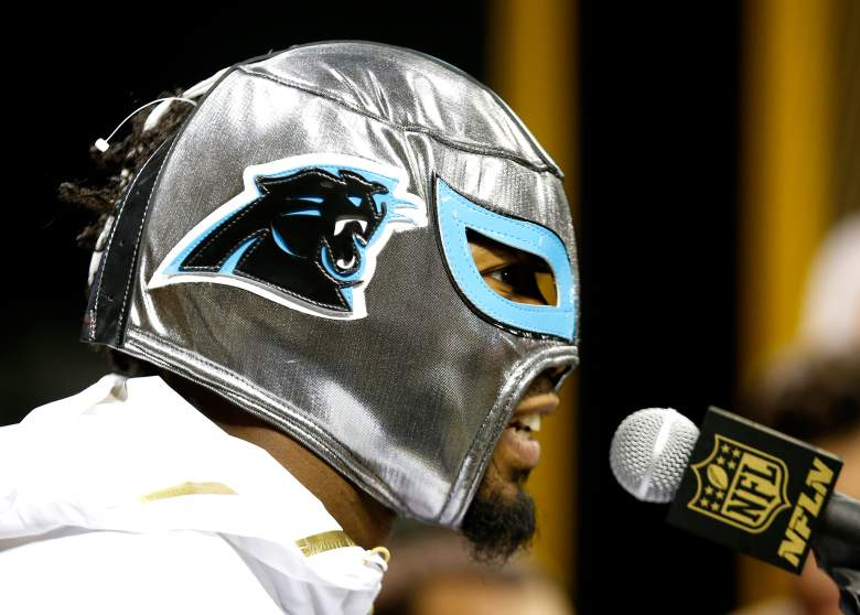 Josh Norman, wrestling mask, super bowl media day