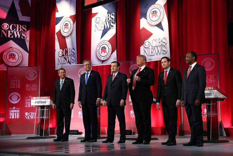 The six remaining candidates at a Republican debate. (Getty)