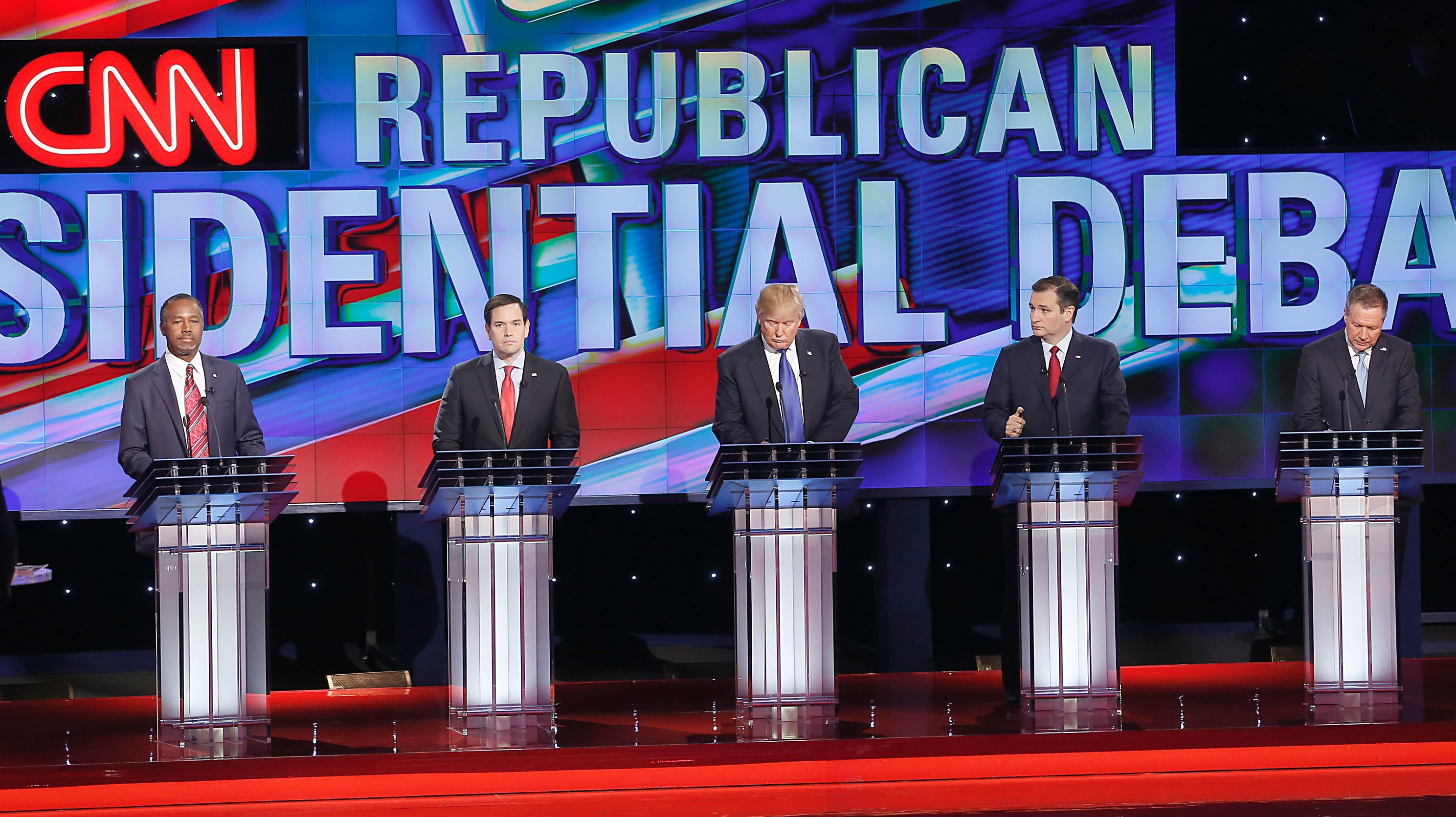 Republican Presidential Candidates, from left, Ben Carson , Marco Rubio , Donald Trump, Ted Cruz and John Kasich participate in the Republican Presidential Debate at the University of Houston in Houston, Texas on February 25, 2016.  (Getty)