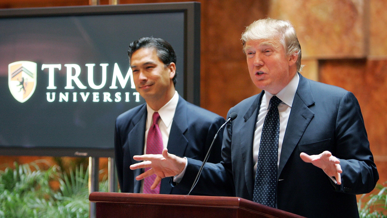 Donald Trump unveils Trump University in 2005. (Getty)