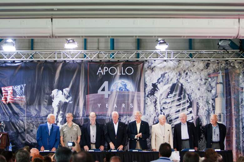 CAPE CANAVERAL, FL - JULY 16: (L-R) Buzz Aldrin, Apollo 11 astronaut, Walt Cunningham, Apollo 7, Edgar Mitchell, Apollo 14, Al Worden, Apollo 15, Charlie Duke, Apollo 16, Jerry Carr, Apollo 8 & 12, Vance Brand, Apollo and Shuttle, Bruce McCandless, Apollo and Shuttle, address the crowd gathered underneath a Saturn V rocket at the Kennedy Space Center Visitor Complex July 16, 2009 in Cape Canaveral, Florida. The gallery opening celebrates the 40th anniversary of the Apollo moon landing. (Photo by Matt Stroshane/Getty Images)