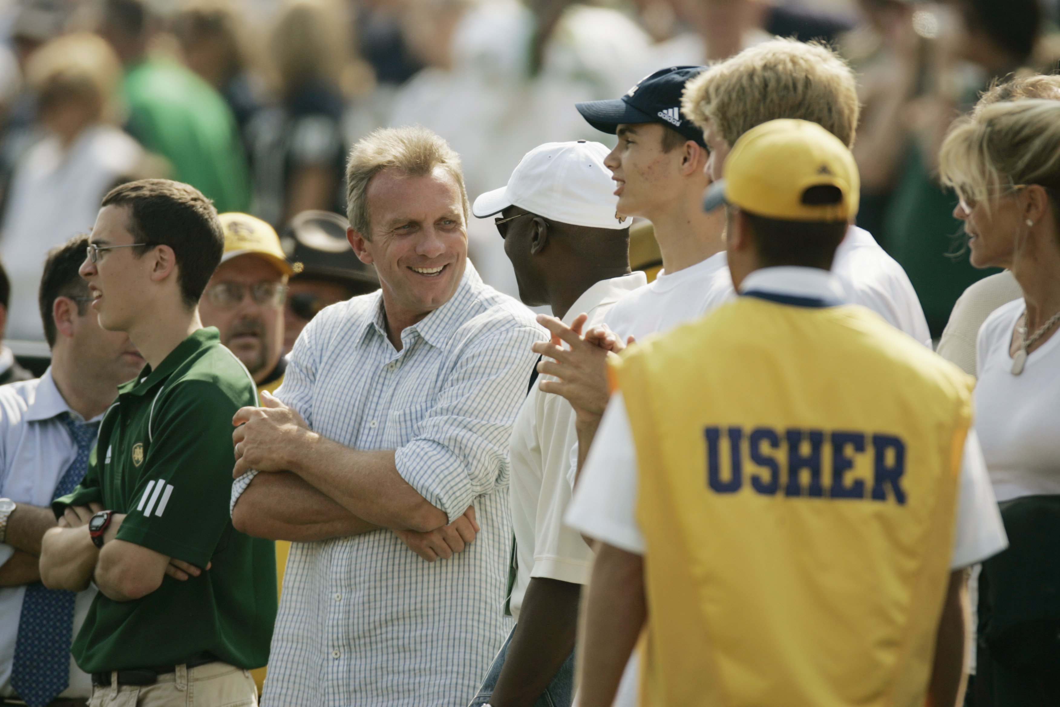 Montana on the sidelines of a Notre Dame football game. (Getty)