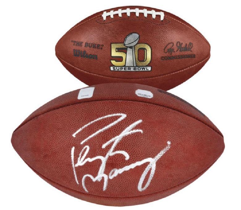 peyton manning broncos signed football super bowl 50