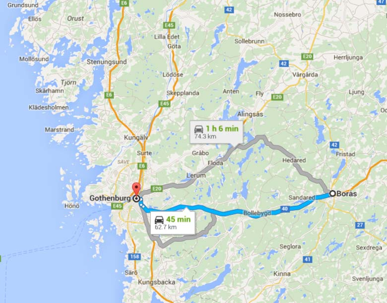 A map showing the distance between Nivarlain's home city and Gothenburg. (Google Maps)