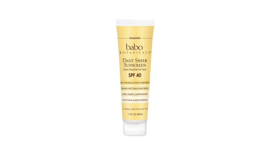 babo botanicals SPF 40 sheer facial sunscreen lotion