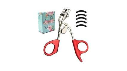 red grip silver spring action eyelash curler