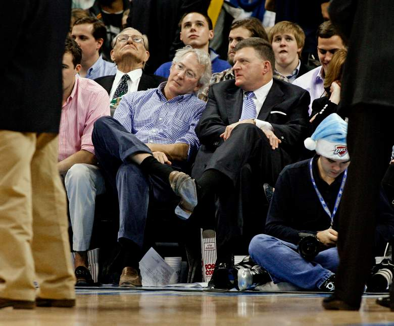 OKLAHOMA CITY, OK -DECEMBER 25: Oklahoma City Thunder owner Clay Bennett, right, speaks to Chesapeake Energy CEO Aubrey McClendon during the NBA season opening game December 25, 2011 at the Chesapeake Energy Arena in Oklahoma City, Oklahoma. Oklahoma City defeated Orlando 97-89. NOTE TO USER: User expressly acknowledges and agrees that, by downloading and or using this Photograph, user is consenting to the terms and conditions of the Getty Images License Agreement. (Photo by Brett Deering/Getty Images)