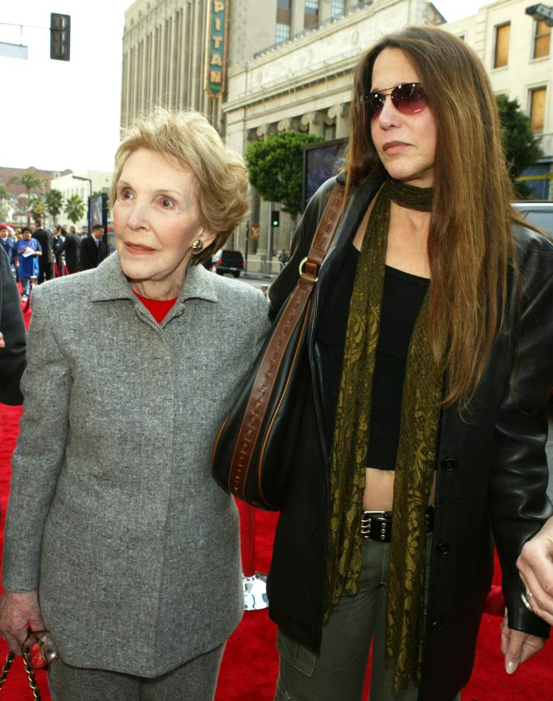 """LOS ANGELES - DECEMBER 13: Former first lady Nancy Reagan and daughter Patti Davis arrive at the premiere of """"Peter Pan"""" at the Chinese Theater on December 13, 2003 in Los Angeles, California. (Photo by Kevin Winter/Getty Images)"""