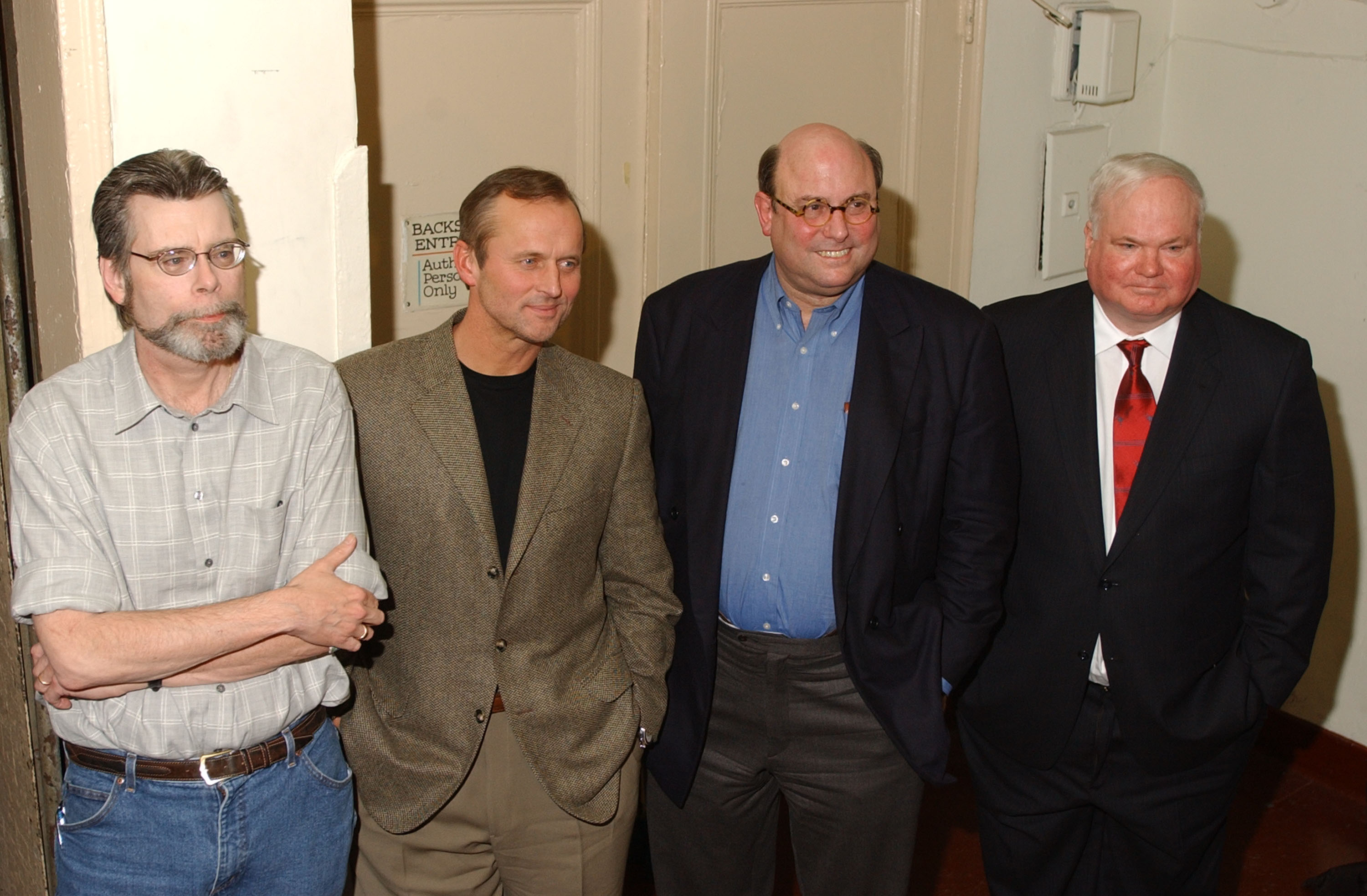 Stephen King, John Grisham, Peter Straub and Pat Conroy attend a benefit reading for Frank Muller at Town Hall February 2, 2002 in New York City. Actor and audiobook narrator Frank Muller sustained debilitating injuries in a motorcycle accident in November 2001. The event was sponsored in part by The Wavedancer Foundation, Inc. and the Audio Publishers Association and raised funds to assist in meeting the immediate needs of Muller and his family. (Getty)