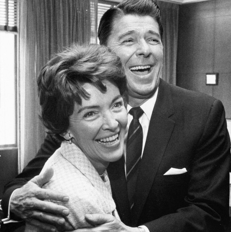 Ronald Reagan and Nancy Reagan couple celebrate their 50th wedding anniversary on March 4, 2002. (Getty)