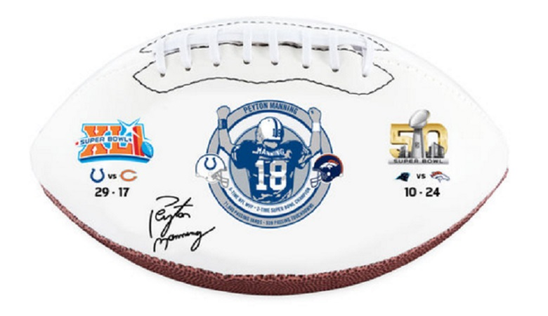 peyton manning signed retirement memorabilia colts broncos