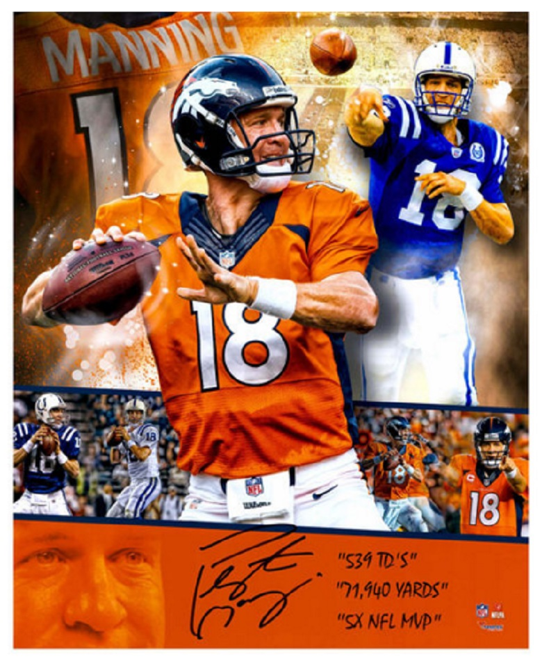 peyton manning colts broncos retirement collectible memorabilia signed