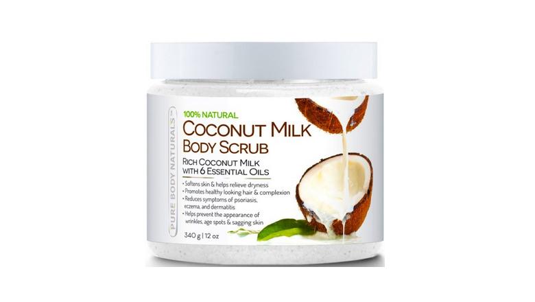 pure body naturals coconut milk and dead sea salt scrub