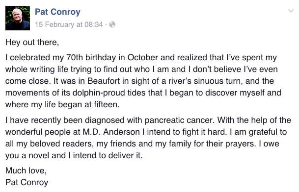 Pat Conroy Facebook page