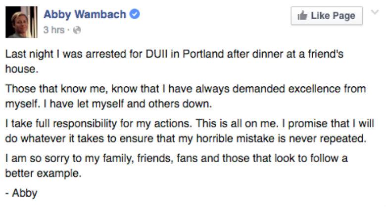 abby wambach facebook, abby wambach apology