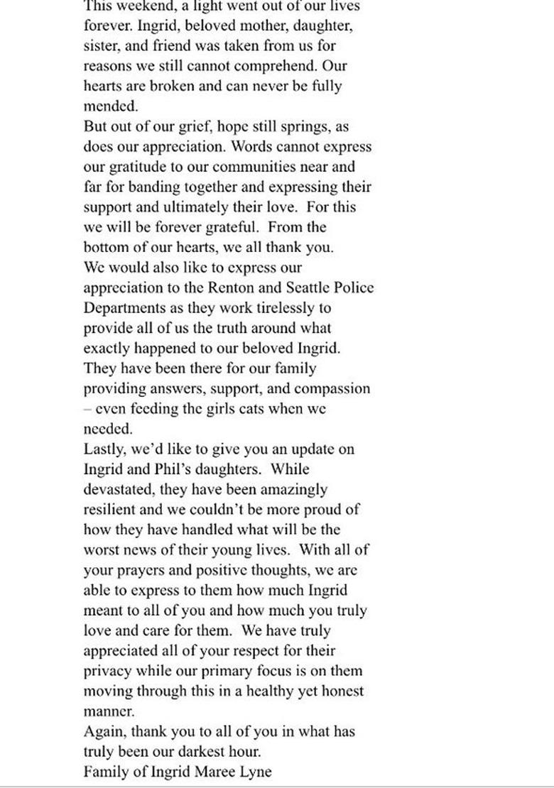 Ingrid Lyne Family Statement