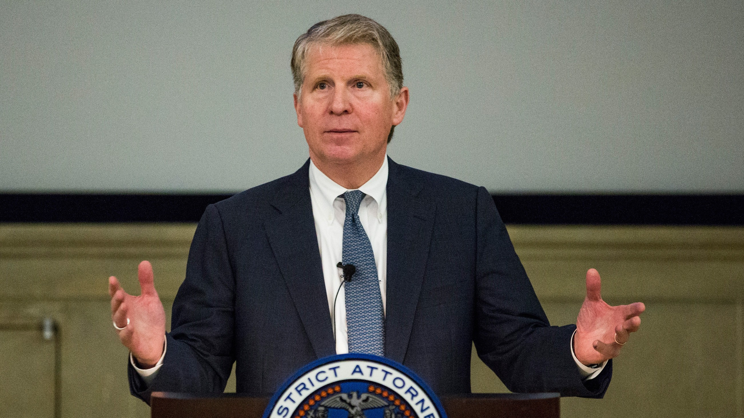 Manhattan District Attorney Cyrus Vance, Jr. speaks at global cyber security symposium at the Federal Reserve Bank of New York on November 18, 2015 in New York City.  (Andrew Burton/Getty)
