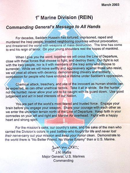general mattis iraq letter