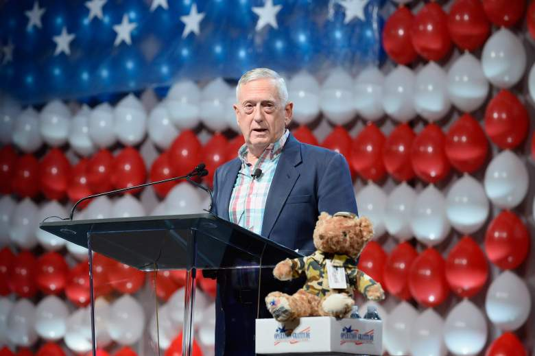 """LAS VEGAS, NV - JULY 23: Retired Marine Corps Gen. James """"Jim"""" Mattis speaks during the DIRECTV and Operation Gratitude day of service at the fifth annual DIRECTV Dealer Revolution Conference at Caesars Palace on July 23, 2015 in Las Vegas, Nevada. (Photo by Bryan Steffy/Getty Images for DIRECTV)"""