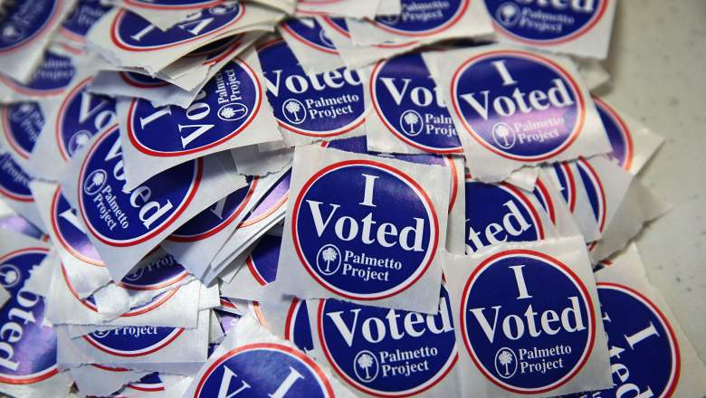 "COLUMBIA, SC - FEBRUARY 20: A pile of ""I Voted"" stickers is seen at a polling station at Hand Middle School February 20, 2016 in Columbia, South Carolina. Residents of South Carolina picked their candidate in the state Republican primary today. (Photo by Alex Wong/Getty Images)"
