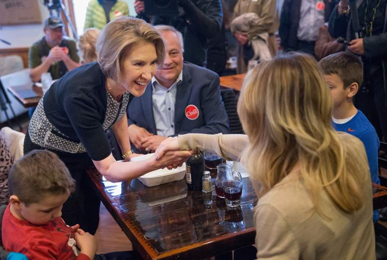 Fiorina at a Cruz event in Wisconsin. Getty)