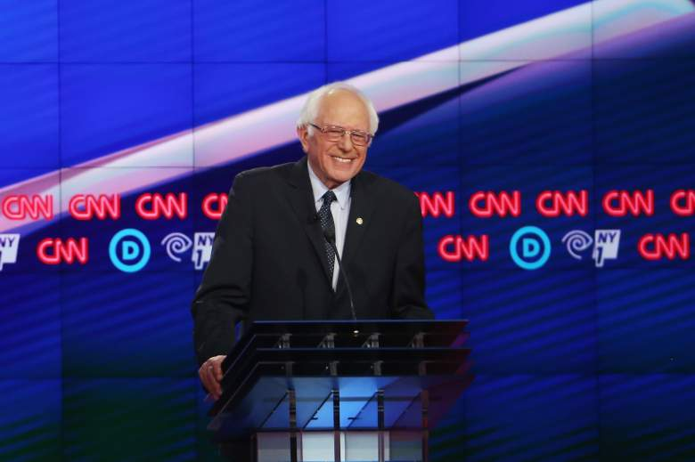 NEW YORK, NY - APRIL 14: Democratic Presidential candidate Sen. Bernie Sanders (D-VT) debates Hillary Clinton during the CNN Democratic Presidential Primary Debate at the Duggal Greenhouse in the Brooklyn Navy Yard on April 14, 2016 in New York City. The candidates are debating ahead of the New York primary to be held April 19. (Photo by Justin Sullivan/Getty Images)