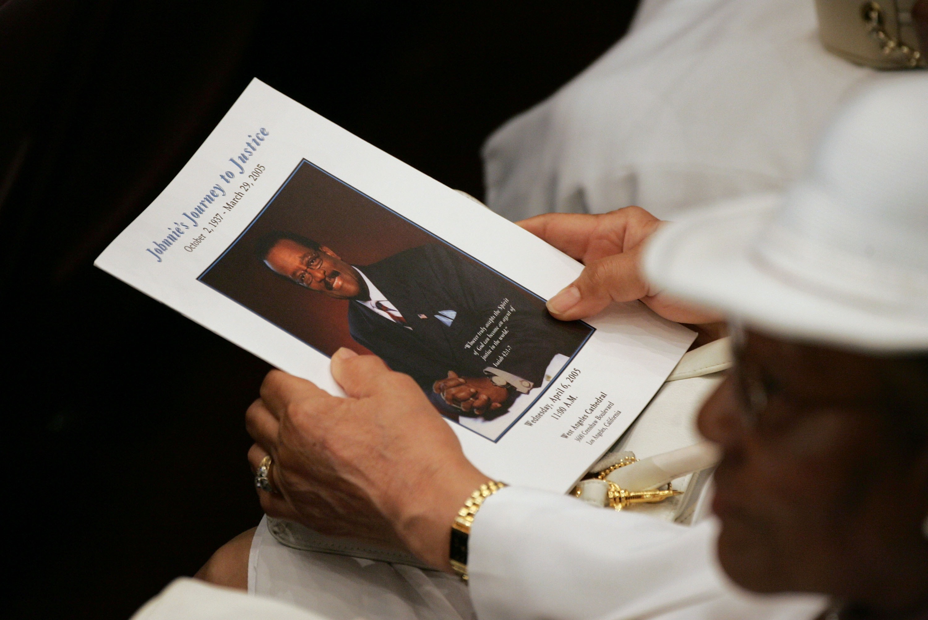 A funeral program is seen during the funeral services for lawyer Johnnie L. Cochran, Jr. at the West Angeles Cathedral on April 6, 2005 in Los Angeles, California.  (Getty)