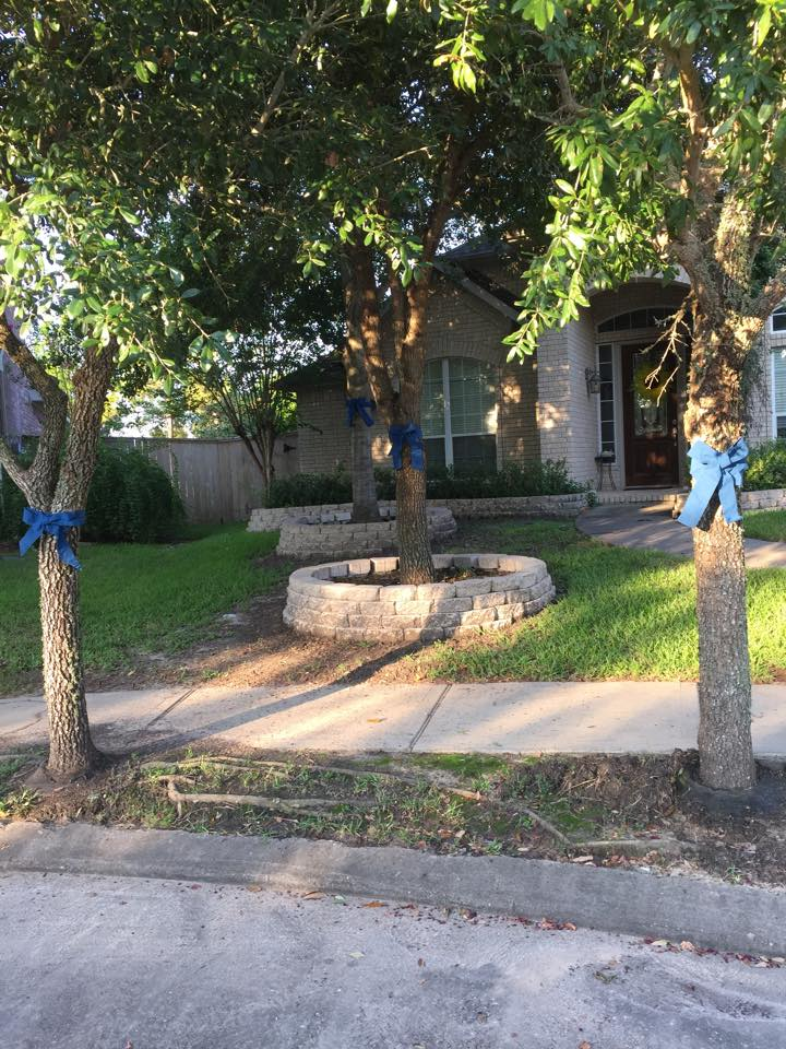 The outside of the Srinivasan's Katy home, including blue ribbons in support of law enforcement, seen in a photo posted by Jeremy Srinivasan in September 2015. (Facebook)