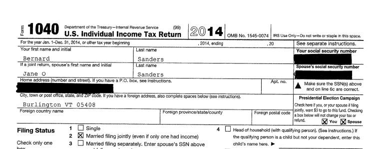 sanders 1040 tax return