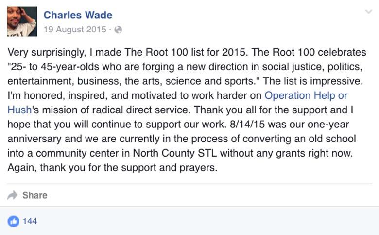 Charles Wade Facebook Page