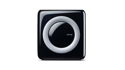compact black coway true hepa air purifier and ionizer
