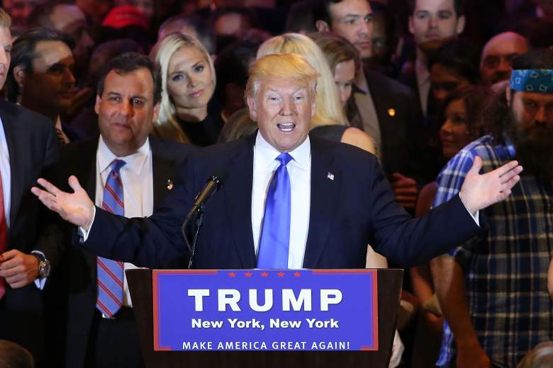 NEW YORK, NY - APRIL 26: Republican presidential candidate Donald Trump speaks to supporters and the media with New Jersey Governor Chris Christie behind him at Trump Towers following the conclusion of primaries Tuesday in northeastern states on April 26, 2016 in New York, New York. Trump again gained more delegates to move him closer to the Republican presidential nomination. (Photo by Spencer Platt/Getty Images)