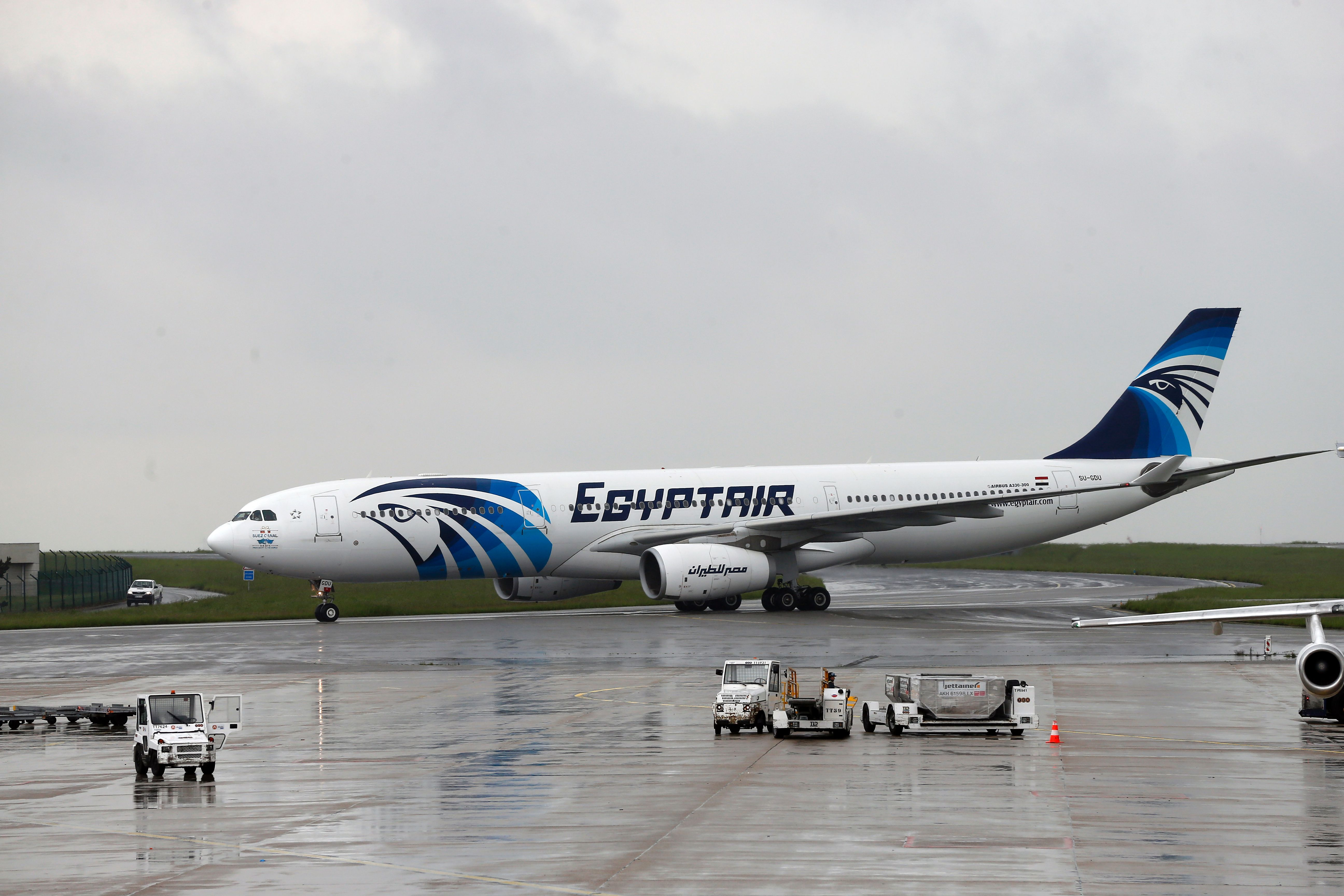 This picture taken on May 19, 2016, shows an Egyptair Airbus A330 from Cairo taxiing at the Roissy-Charles De Gaulle airport near Paris after its landing a few hours after the MS804 Egyptair flight crashed into the Mediterranean.  (Getty)