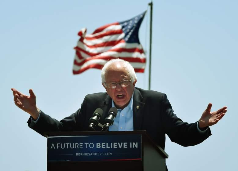 Bernie Sanders speaks, Bernie Sanders hands, Bernie Sanders flag