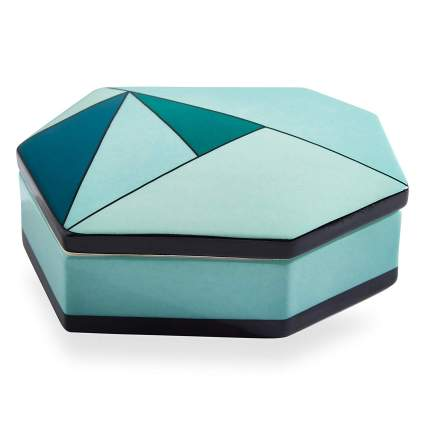 Now House by Jonathan Adler Facet Decorative Box, Green