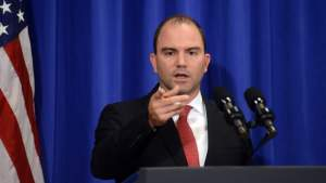 EDGARTOWN, MA - AUGUST 22: White House Deputy National Security Advisor Ben Rhodes addresses the media at the Edgartown School on August 22, 2014 in Edgartown, Martha's Vineyard, Massachusetts. Asked about the beheading of journalist James Foley, Rhodes said it represented a terrorist attack.  (Getty)