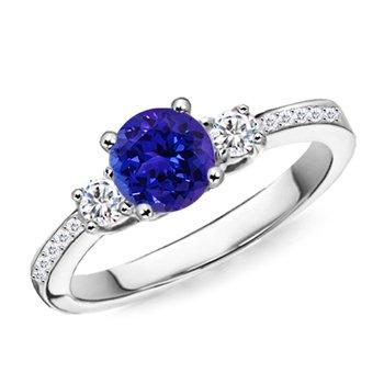 three stone tanzanite engagement ring