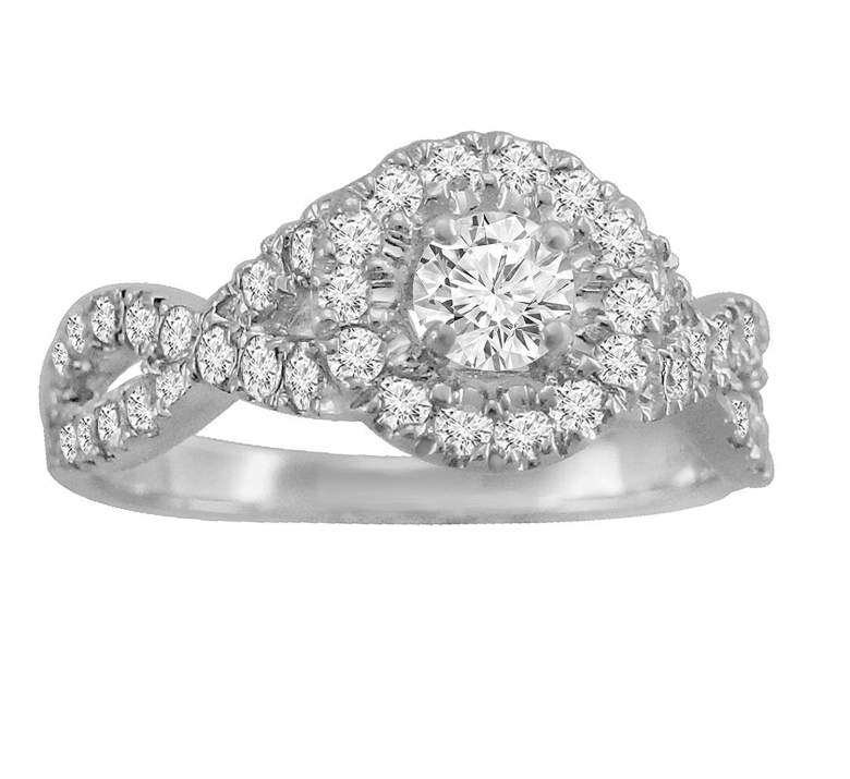 Halo Solitaire Infinity Twist Engagement Ring