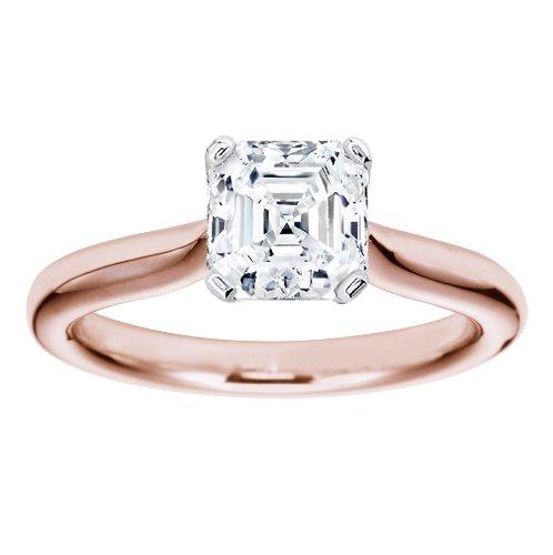 Rose Gold Solitaire Diamond Asscher Cut Engagement Ring