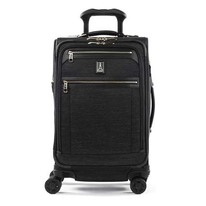 black spinner carry on suitcase