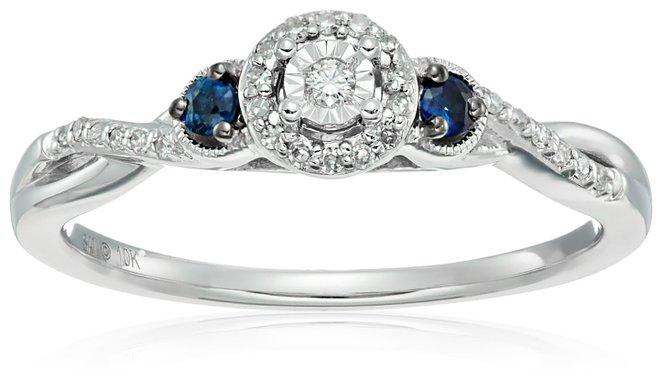 10k White Gold Diamond & Sapphire Engagement Ring