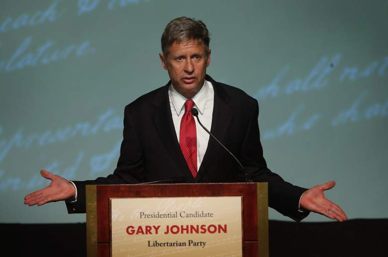 CHICAGO, IL - OCTOBER 23:  Libertarian Party presidential candidate Gary Johnson makes a point during a debate hosted by the Free and Equal Elections Foundation and moderated by former CNN talk-show host Larry King on October 23, 2012 in Chicago, Illinois. The 90-minute debate held at the Chicago Hilton hotel featured presidential candidates from the Green Party, Libertarian Party, Constitution Party and Justice Party.  (Photo by Scott Olson/Getty Images)