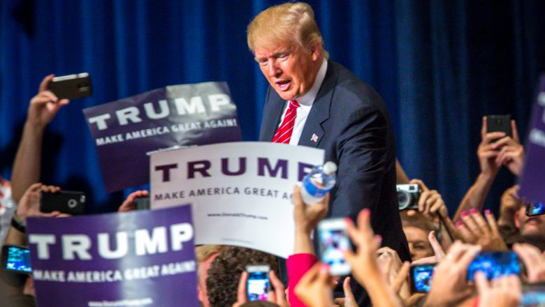 PHOENIX, AZ - JULY 11: Republican Presidential candidate Donald Trump addresses supporters during a political rally at the Phoenix Convention Center on July 11, 2015 in Phoenix, Arizona. Trump spoke about illegal immigration and other topics in front of an estimated crowd of 4,200. (Photo by Charlie Leight/Getty Images)