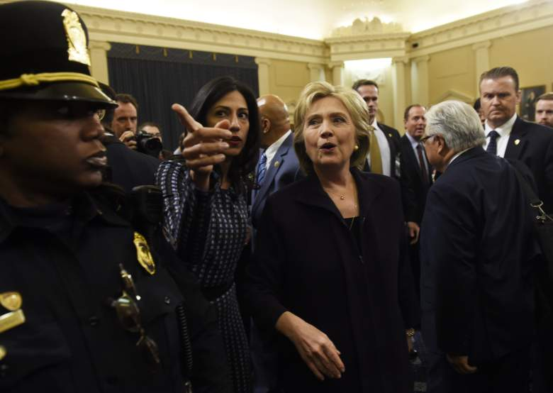 Hillary Clinton walks next to Huma Abedin after Clinton testified before the House Select Committee on Benghazi. (Getty)